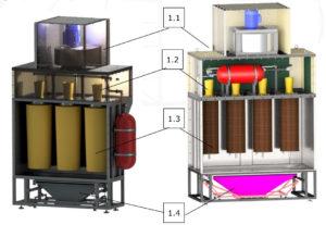 Блок фильтрации камеры порошковой окраски.